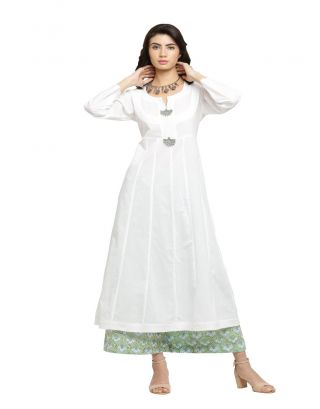 White Kalidaar Kurta and Green Palazzo