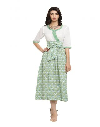 Green Printed Midi Dress with Tie Up Belt