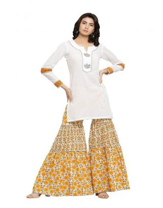 White Kurta with Sharara Pants