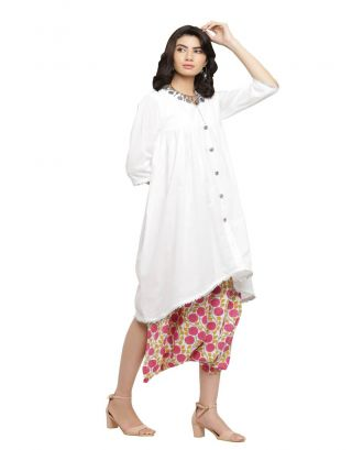 Pink Floral Printed Jumpsuit with White Kurta