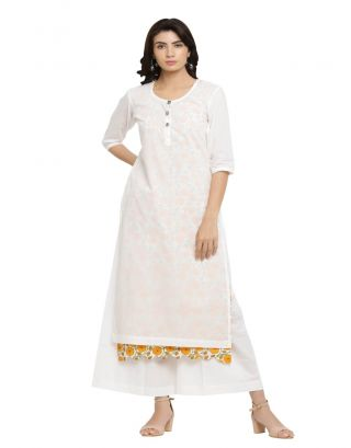 White Kurta with Printed Inner and Palazzo