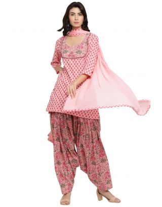 Pink Printed Kurta Patiala with Dupatta