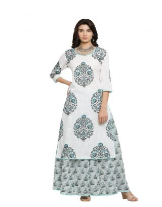 White and Blue Printed Kurta with Skirt