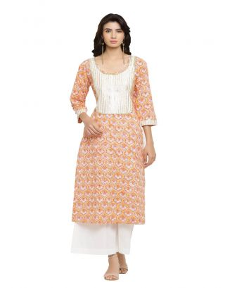 Orange Printed Yoke Kurta with Palazzo