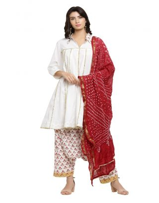 White Kurta with Dhoti and Bandhani Dupatta