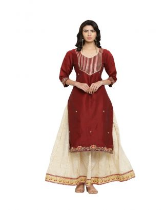 Maroon Chanderi Kurta and Beige Printed Skirt