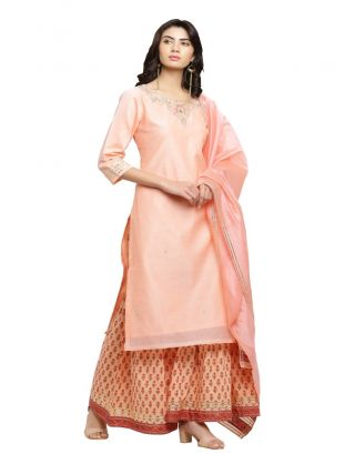 Peach Chanderi Kurta and Sharara Pants Set