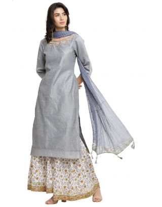Grey Chanderi Kurta and White Printed Sharara Pants