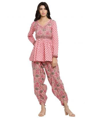 Pink Printed Peplum Top with Peach Dhoti