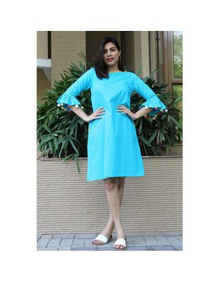 Sky Blue Dress With Wooden Buttons