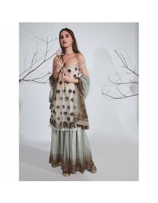 Grey Off Shoulder Gold Embroidered Sharara Set