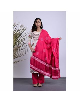 White and Pink Kurta Palazzo Set with Dupatta