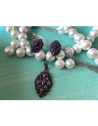 Marcasite & Semi Precious Amethyst Studded Pendent Set