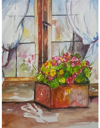 By The Window Watercolour Painting
