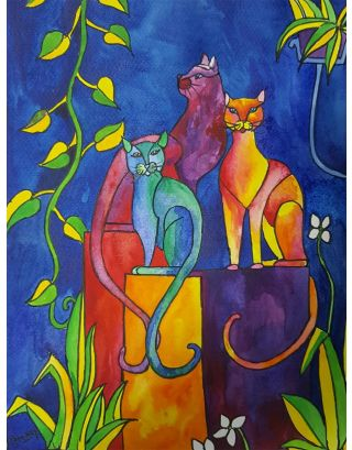 Cats  Watercolour Painting