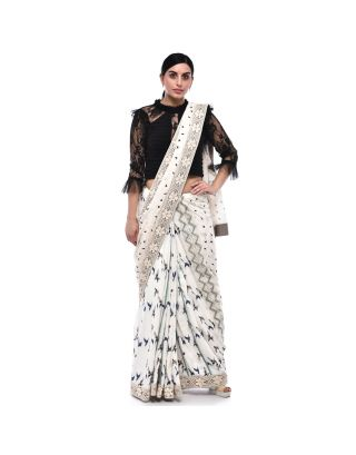 White Cotton Printed Saree