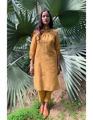 Mustard Khadi Silk Dress