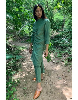 Olive Green Khadi Silk Tunic