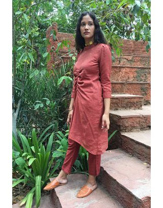 Brick Red Khadi Silk Tunic