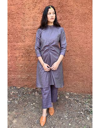 Purple Khadi Silk Tunic