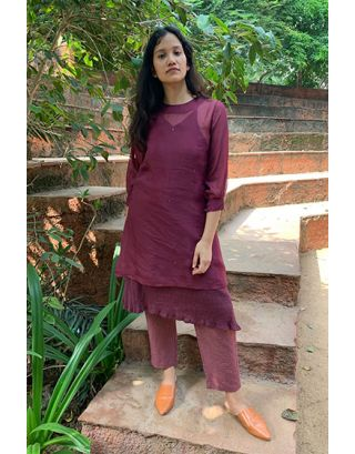Wine Organza Tunic