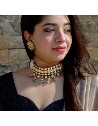 Cheed And Kundan Choker With Pearls and Green Stones Set And Earrings