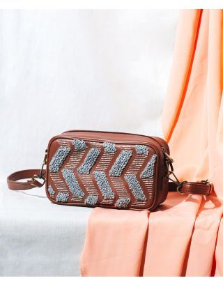 Chevron Embroidered Brown Sling