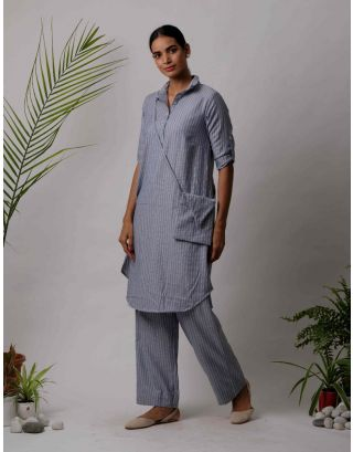 Grey Collar Striped Kurta Pants Set