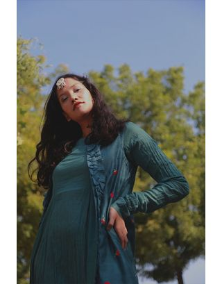 Teal Green Dress With Jacket