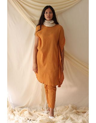 Mustard Ombre Dyed Tunic set with Scarf