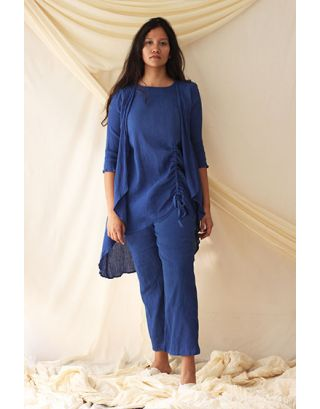 Blue Asymmetric Tunic Set