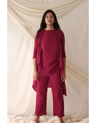 Plum Asymmetric Tunic Set