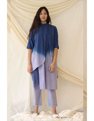 Blue High Neck Tunic Set