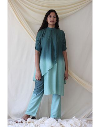 Emerald Green Hight Neck Tunic Set