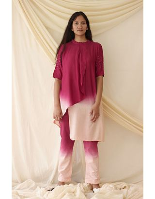 Wine & Pink Dyed Tunic Set