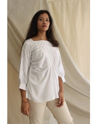 White Pleated Mulmul Top