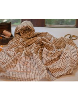 White and Brown Checkerd Fabric