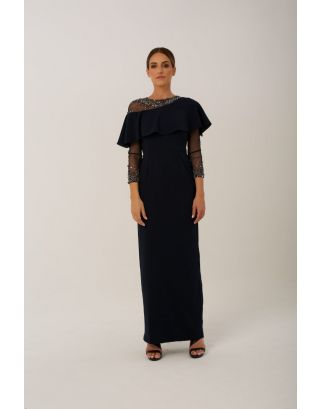 Navy Asymmetric Sheer Maxi Gown