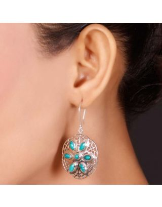 Turquoise Silver Floral Earrings