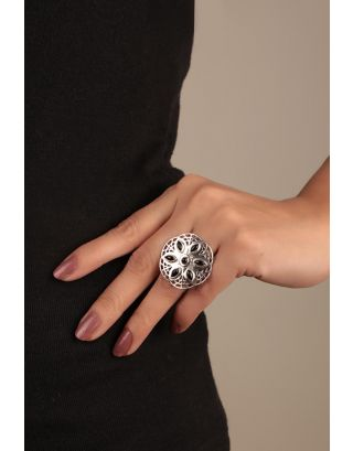Black Silver Flower Ring