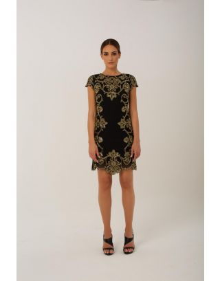 Black and Golden Embellishment Midi Dress