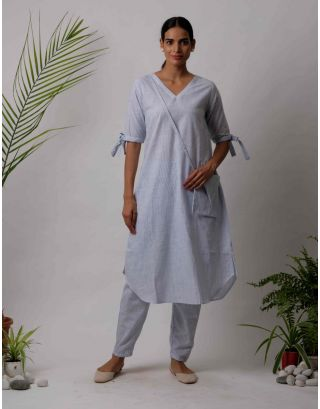 Sky Blue Plain Kurta Pants Set