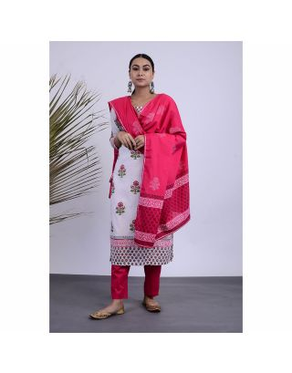 White and Pink Kurta Pants Set with Dupatta