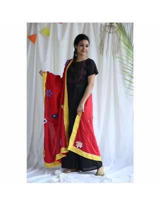 Black Palazzo Set With Dupatta