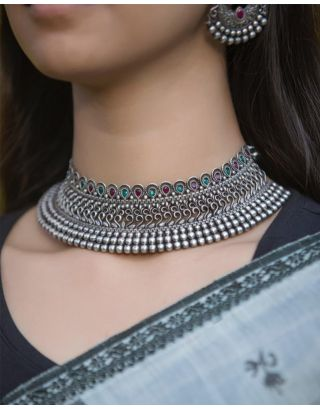 Green & Pink Oxidised Necklace Set