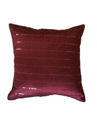 Maroon Sequins Cushion Cover