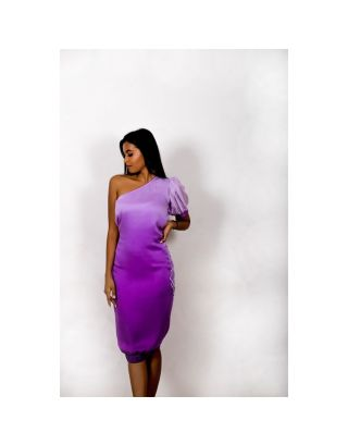 Purple Ombre Embroidered Dress