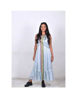 Ice Blue Checkered Maxi Dress