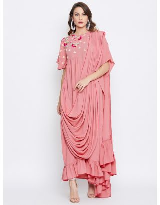 Pink Embroidered Draped Kaftan