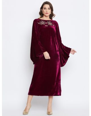 Magenta Velvet Embroidered Kaftan